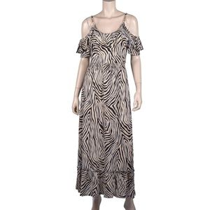 Michael Kors Brown Zebra Animal Print Maxi Dress M